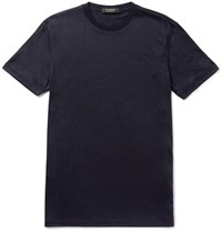 Ermenegildo Zegna Slim Fit Slub Wool T Shirt Midnight Blue