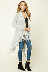 Forever 21 Fringed Fuzzy Knit Cardigan Cream Black