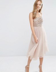 Maya Cami Strap Midi Dress With Tulle Skirt And Embellishment Mink Brown