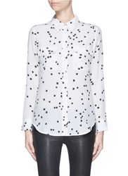Equipment 'Slim Signature' Star Print Silk Shirt White