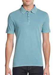 Saks Fifth Avenue Blue Washed Cotton Polo Shirt Turquoise