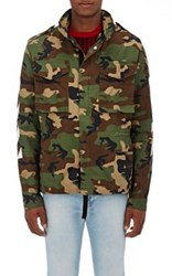Off White C O Virgil Abloh Men's Camouflage Cotton Field Jacket Green
