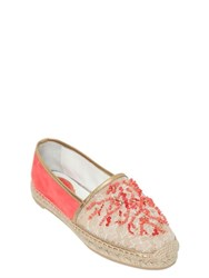 Rene Caovilla 10Mm Beaded Lace And Mesh Espadrilles