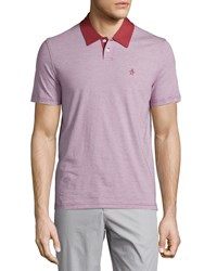 Penguin Feeder Stripe Polo Shirt Brick Red
