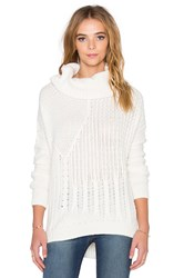 Splendid Stanton Cable Turtleneck Sweater Cream