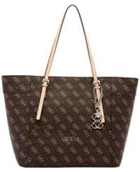 Guess Delaney Signature Small Classic Tote Brown