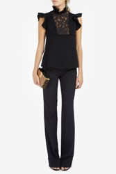 Elie Saab Women S Ruffle Collar Knit Top Boutique1 Black