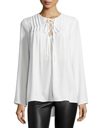 Max Studio Long Sleeve Lace Up Blouse W Pleats Ivory
