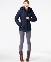 Rampage Hooded Quilted Puffer Coat Navy