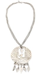 Vanessa Mooney Eagle Medallion Necklace Silver