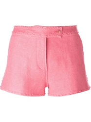 Ermanno Scervino Frayed Tailored Shorts Pink And Purple