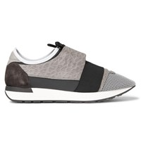 Balenciaga Leather Neoprene And Mesh Sneakers Gray
