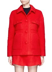 Chictopia Brushed Wool Blend Coat Red