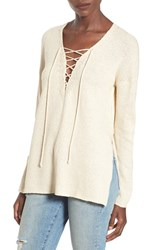 Astr Women's Lace Up Sweater