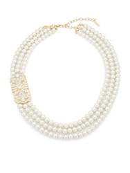 Saks Fifth Avenue Estate Layered Necklace Gold White