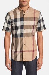 Men's Burberry Brit 'Fred' Trim Fit Short Sleeve Sport Shirt Camel