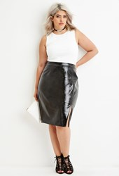 Forever 21 Plus Size Faux Leather Zipped Skirt Black