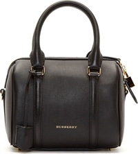 Burberry Black Leather Small Alchester Duffle Bag