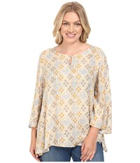 Stetson Plus Size Floral Batik Long Sleeve Woven Peasant Top White Women's Clothing