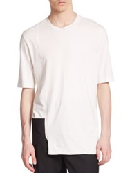 3.1 Phillip Lim Asymmetrical Two Tone Cotton Tee White