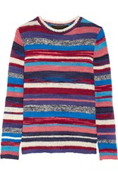 The Elder Statesman Striped Cashmere Sweater Red Blue