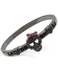 Betsey Johnson Hematite Tone Pave Accented Glamour Skull Hinged Bangle Bracelet Black