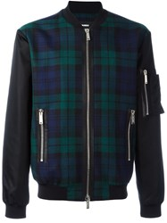 Dsquared2 Tartan Pattern Bomber Jacket Black