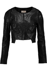 Temperley London Majorelle Cropped Embossed Leather Jacket Black