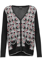 Anna Sui Cotton Blend Intarsia Cardigan Multi