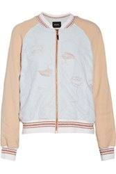 Raoul Embroidered Stretch Crepe And Tulle Bomber Jacket Blush