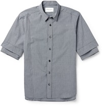 Double Layered Gingham Cotton Shirt Black