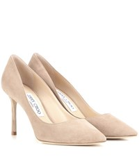 Jimmy Choo Romy 85 Suede Pumps Beige