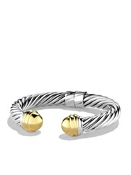 David Yurman Cable Classics Bracelet With Gold Domes Silver