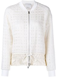 3.1 Phillip Lim Silk Trimmed Tweed Bomber Nude And Neutrals