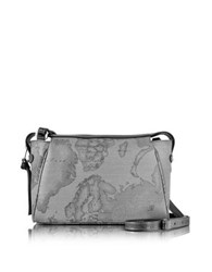 Alviero Martini Geo Dark Canvas And Leather Small Shoulder Bag Gray