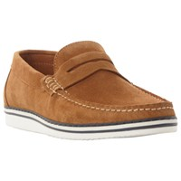 Dune Brightling Wedge Sole Suede Loafers Tan