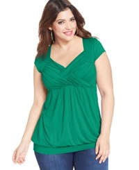 Soprano Plus Size Cap Sleeve Ruched Empire Top Kelly Green