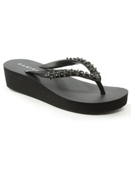 Daniel Crystal Embellished Wedge Flip Flops Black