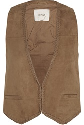 Maje Enclos Leather Trimmed Suede Vest
