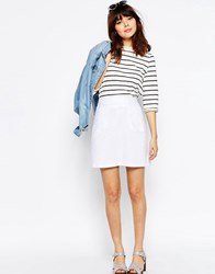 Asos A Line Linen Skirt With Pocket Detail White