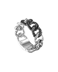 Lava Round Link Band Ring With Black Sapphire John Hardy Silver