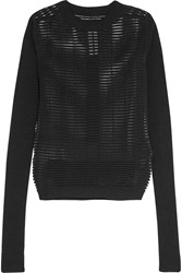 Rick Owens Cotton Blend Mesh And Ribbed Knit Sweater Black