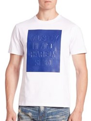 Mostly Heard Rarely Seen Short Sleeve Embossed Leather Tee White