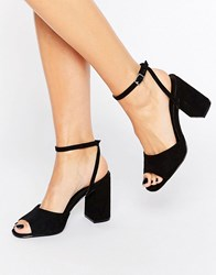 Truffle Collection Flare Heeled Sandal Black Micro