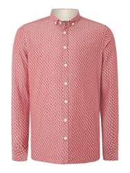 Duck And Cover Kensit Print Slim Fit Button Down Shirt Red