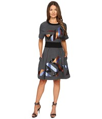 Just Cavalli Geo Sequin Sweatshirt Dress Grey