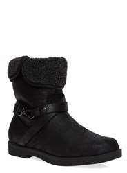 Evans Extra Wide Fit Shearling Trim Boots Black