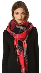 Standard Form Gingham Grid Scarf Red
