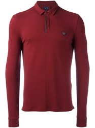 Armani Jeans Long Sleeve Polo Shirt Red