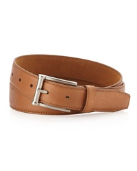 Neiman Marcus Pebbled Leather Belt Tan
